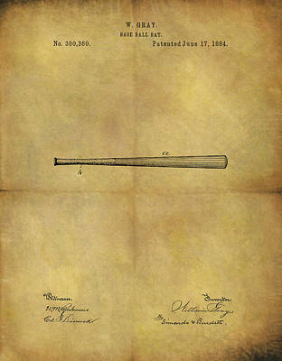 American Baseball Art Drawing - 1884 Baseball Bat Illustration by Dan Sproul