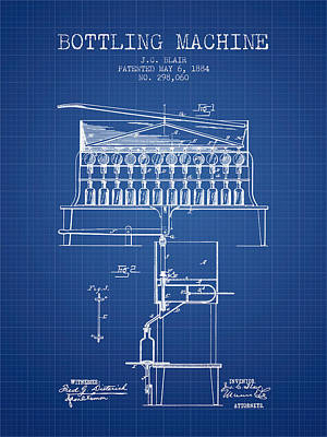 Beer Royalty-Free and Rights-Managed Images - 1884 Bottling Machine patent - blueprint by Aged Pixel
