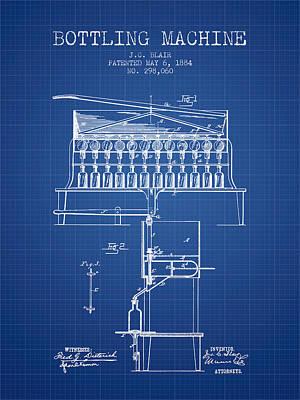 Food And Beverage Digital Art - 1884 Bottling Machine patent - blueprint by Aged Pixel