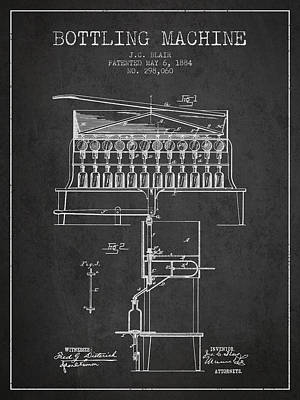 Food And Beverage Royalty-Free and Rights-Managed Images - 1884 Bottling Machine patent - charcoal by Aged Pixel