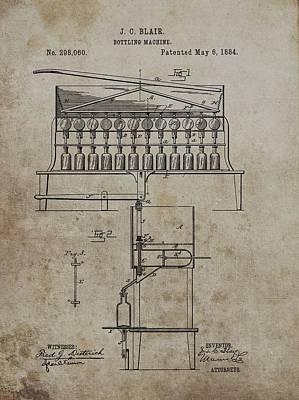 Beer Drawings - 1884 Bottling Machine Patent by Dan Sproul