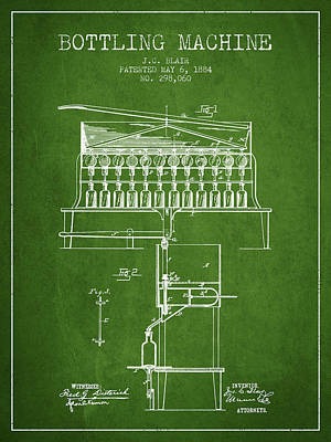 Beer Royalty-Free and Rights-Managed Images - 1884 Bottling Machine patent - green by Aged Pixel