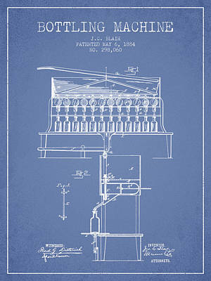 Beer Royalty-Free and Rights-Managed Images - 1884 Bottling Machine patent - light blue by Aged Pixel