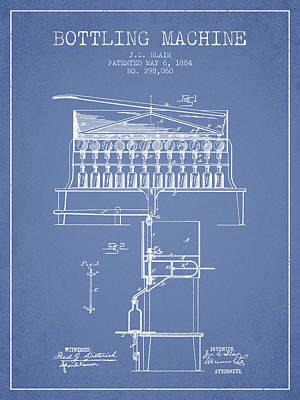 Food And Beverage Digital Art - 1884 Bottling Machine patent - light blue by Aged Pixel