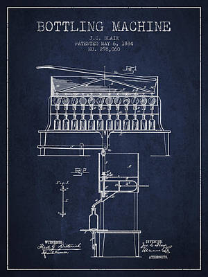 Beer Royalty-Free and Rights-Managed Images - 1884 Bottling Machine patent - navy blue by Aged Pixel