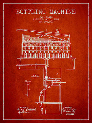 Food And Beverage Digital Art - 1884 Bottling Machine patent - red by Aged Pixel