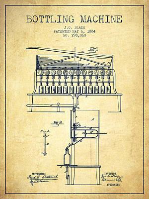 Food And Beverage Digital Art - 1884 Bottling Machine patent - vintage by Aged Pixel