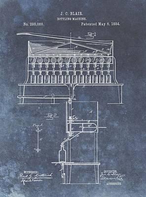 Beer Drawings - 1884 Bottling Patent by Dan Sproul