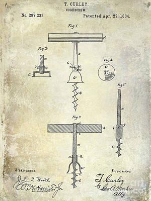 1884 Corkscrew Patent Art Print