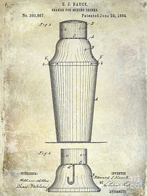 Shakers Photograph - 1884 Drink Shaker Patent by Jon Neidert