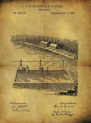 Drawing - 1884 Ferry Boat Patent by Dan Sproul