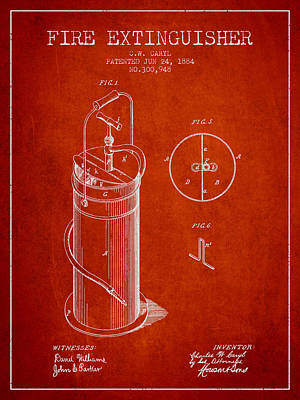 1884 Fire Extinguisher Patent - Red Art Print