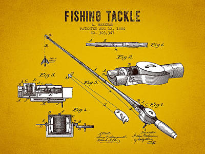 Fishing Reels Digital Art - 1884 Fishing Tackle Patent - Yellow Brown by Aged Pixel