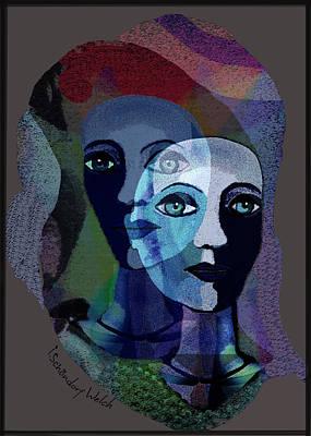 Digital Art - 1884   Her Spirit Companion   B by Irmgard Schoendorf Welch