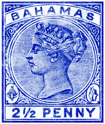 Painting - 1884 Queen Victoria Bahamas Stamp by Historic Image