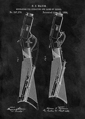 Drawing - 1884 Rifle Patent by Dan Sproul