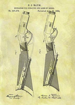 Drawing - 1884 Rifle Stock Patent by Dan Sproul