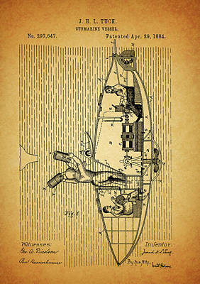Mixed Media - 1884 Submarine Ship Patent by Dan Sproul