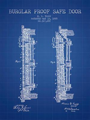1885 Bank Safe Door Patent - Blueprint Art Print by Aged Pixel
