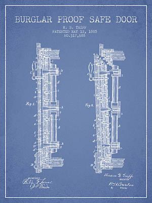 1885 Bank Safe Door Patent - Light Blue Art Print by Aged Pixel