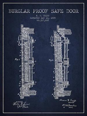 1885 Bank Safe Door Patent - Navy Blue Art Print by Aged Pixel