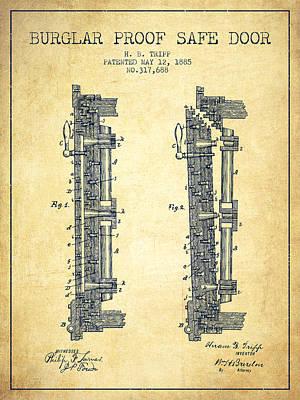 1885 Bank Safe Door Patent - Vintage Art Print by Aged Pixel