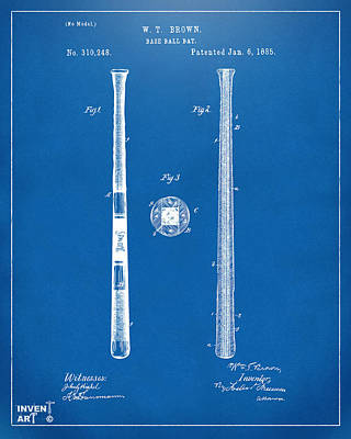 Baseball Art Drawing - 1885 Baseball Bat Patent Artwork - Blueprint by Nikki Marie Smith