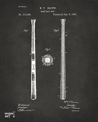 Sports Drawing - 1885 Baseball Bat Patent Artwork - Gray by Nikki Marie Smith