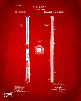 Baseball Art Drawing - 1885 Baseball Bat Patent Artwork - Red by Nikki Marie Smith