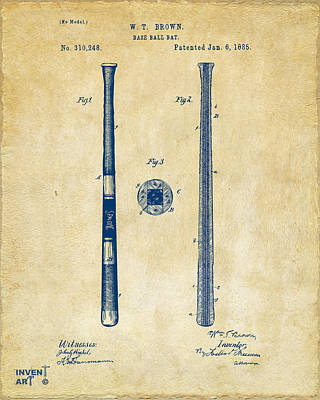 Historic Home Drawing - 1885 Baseball Bat Patent Artwork - Vintage by Nikki Marie Smith