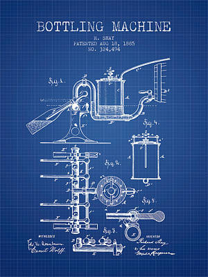 Food And Beverage Royalty-Free and Rights-Managed Images - 1885 Bottling Machine patent - Blueprint by Aged Pixel