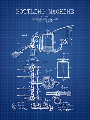 Food And Beverage Digital Art - 1885 Bottling Machine patent - Blueprint by Aged Pixel