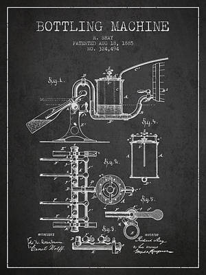 Food And Beverage Royalty-Free and Rights-Managed Images - 1885 Bottling Machine patent - charcoal by Aged Pixel