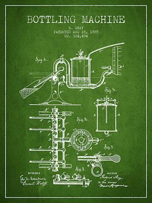 Beer Royalty-Free and Rights-Managed Images - 1885 Bottling Machine patent - Green by Aged Pixel