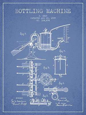 Beer Royalty-Free and Rights-Managed Images - 1885 Bottling Machine patent - Light Blue by Aged Pixel