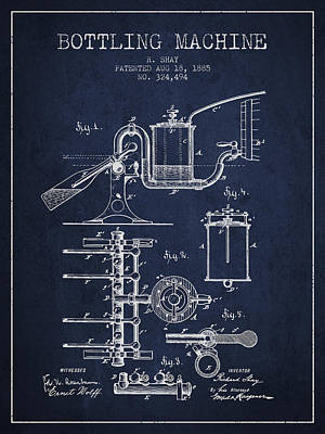 Beer Royalty-Free and Rights-Managed Images - 1885 Bottling Machine patent - Navy Blue by Aged Pixel