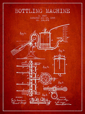 Beer Royalty-Free and Rights-Managed Images - 1885 Bottling Machine patent - red by Aged Pixel