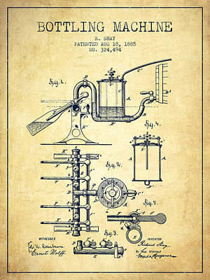 Food And Beverage Royalty-Free and Rights-Managed Images - 1885 Bottling Machine patent - Vintage by Aged Pixel