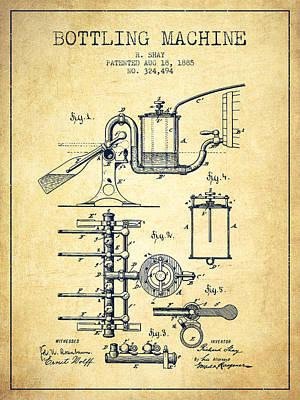 Food And Beverage Digital Art - 1885 Bottling Machine patent - Vintage by Aged Pixel