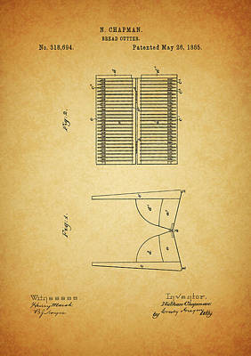 Culinary Mixed Media - 1885 Bread Slicer Patent by Dan Sproul