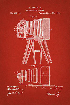 Digital Art - 1885 Camera Us Patent Invention Drawing - Red by Todd Aaron
