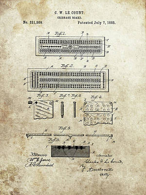 Drawing - 1885 Cribbage Board by Dan Sproul