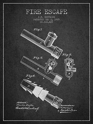 Beers On Tap - 1885 Fire Escape Patent - Charcoal by Aged Pixel