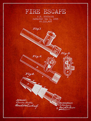 Helmet Digital Art - 1885 Fire Escape Patent - Red by Aged Pixel