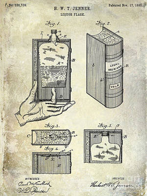 Shakers Photograph - 1885 Liquor Flask Patent by Jon Neidert