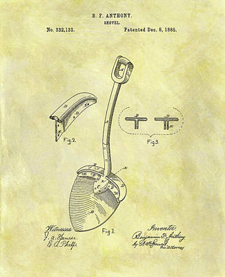 Mixed Media - 1885 Shovel Patent by Dan Sproul