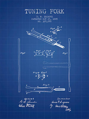 Musicians Royalty Free Images - 1885 Tuning Fork Patent - Blueprint Royalty-Free Image by Aged Pixel