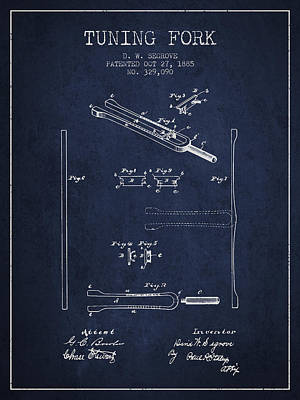 Rights Managed Images - 1885 Tuning Fork Patent - Navy Blue Royalty-Free Image by Aged Pixel