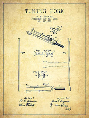 Musicians Royalty Free Images - 1885 Tuning Fork Patent - Vintage Royalty-Free Image by Aged Pixel