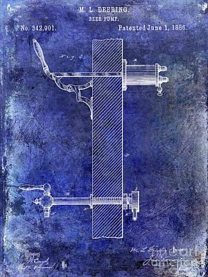 1886 Beer Pump Patent Blue Art Print